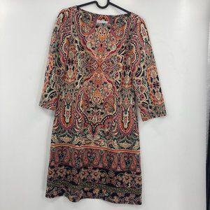 London Times Paisley Long Sleeve Midi Dress